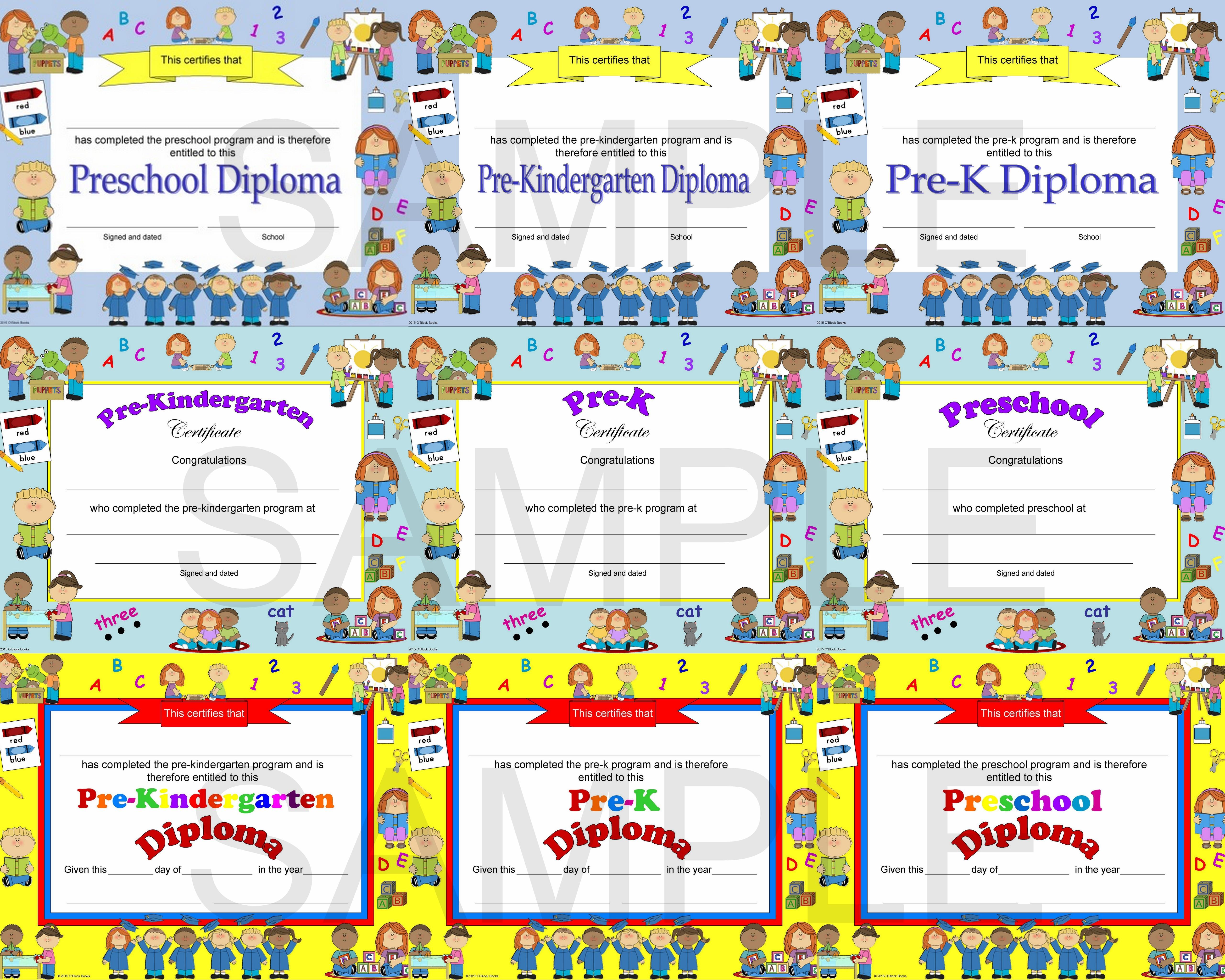 Preschool, Pre-K, Pre-Kindergarten Diplomas, Certificates ...