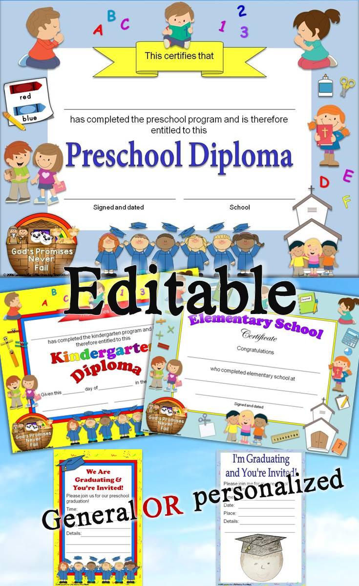 christian  religious diplomas for preschool - grade 6